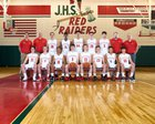 Jamestown Red Raiders Boys Varsity Basketball Winter 17-18 team photo.