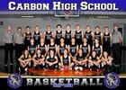 Carbon Dinos Boys Varsity Basketball Winter 17-18 team photo.