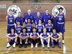 Rincon/University Rangers Boys Varsity Basketball Winter 17-18 team photo.
