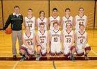 Cle Elum-Roslyn Warriors Boys Varsity Basketball Winter 17-18 team photo.