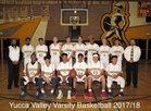 Yucca Valley Trojans Boys Varsity Basketball Winter 17-18 team photo.