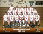 Campo Verde Coyotes Boys Varsity Basketball Winter 17-18 team photo.