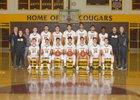 Cibola Cougars Boys Varsity Basketball Winter 17-18 team photo.