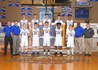 Rochester Warriors Boys Varsity Basketball Winter 17-18 team photo.