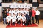 Half Hollow Hills East Thunderbirds Boys Varsity Basketball Winter 17-18 team photo.