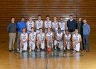 Olympic Trojans Boys Varsity Basketball Winter 17-18 team photo.
