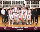 Red Mountain Mountain Lions Boys Varsity Basketball Winter 17-18 team photo.