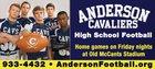 Anderson Cavaliers Cavaliers Boys Varsity Football Fall 14-15 team photo.