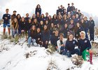 La Cueva Bears Boys Varsity Swimming Winter 15-16 team photo.