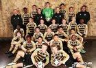 Burke Bulldogs Boys Varsity Soccer Spring 16-17 team photo.