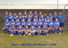 Socorro Warriors Boys Varsity Soccer Fall 17-18 team photo.