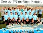 Pueblo West Cyclones Boys Varsity Soccer Fall 17-18 team photo.