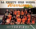 La Puente Warriors Girls Varsity Tennis Fall 18-19 team photo.