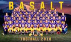 Basalt Longhorns Boys Varsity Football Fall 19-20 team photo.
