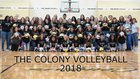 The Colony Cougars Girls Varsity Volleyball Fall 18-19 team photo.