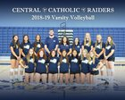 Central Catholic Raiders Girls Varsity Volleyball Fall 18-19 team photo.