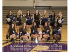 Lutheran Crusaders Girls Varsity Volleyball Fall 18-19 team photo.