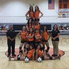 Clayton Yellowjackets Girls Varsity Volleyball Fall 18-19 team photo.
