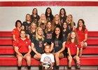Southeastern Local Trojans Girls Varsity Volleyball Fall 18-19 team photo.