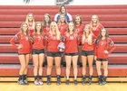 Clinton-Massie Falcons Girls Varsity Volleyball Fall 18-19 team photo.