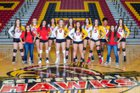 Centennial Hawks Girls Varsity Volleyball Fall 18-19 team photo.