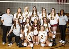 Collinsville Pirates Girls Varsity Volleyball Fall 18-19 team photo.