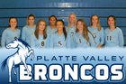Platte Valley Broncos Girls Varsity Volleyball Fall 18-19 team photo.