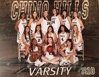 Chino Hills Huskies Girls Varsity Basketball Winter 18-19 team photo.