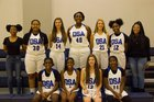 Durham School of the Arts Bulldogs Girls Varsity Basketball Winter 18-19 team photo.
