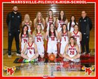 Marysville-Pilchuck Tomahawks Girls Varsity Basketball Winter 18-19 team photo.