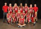 Ferris Saxons Girls Varsity Basketball Winter 18-19 team photo.