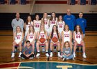 Tri-Village Patriots Girls Varsity Basketball Winter 18-19 team photo.