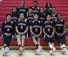 Dunbar Crimson Tide Girls Varsity Basketball Winter 18-19 team photo.