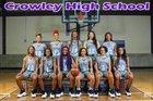 Crowley Eagles Girls Varsity Basketball Winter 18-19 team photo.