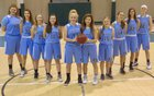 Coastal HomeSchool Hurricanes Girls Varsity Basketball Winter 18-19 team photo.
