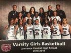 Lawrence Central Bears Girls Varsity Basketball Winter 18-19 team photo.