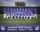 Ramona Bulldogs Boys Varsity Baseball Spring 17-18 team photo.