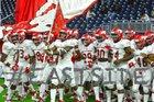 North Shore Mustangs Boys Varsity Football Fall 18-19 team photo.