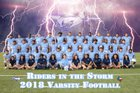 Aldine Mustangs Boys Varsity Football Fall 18-19 team photo.