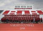 Riverton Wolverines Boys Varsity Football Fall 18-19 team photo.