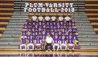 Plum Mustangs Boys Varsity Football Fall 18-19 team photo.