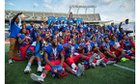 Pahokee Blue Devils Boys Varsity Football Fall 18-19 team photo.