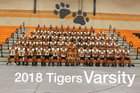 Mercedes Tigers Boys Varsity Football Fall 18-19 team photo.