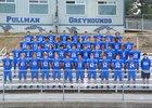 Pullman Greyhounds Boys Varsity Football Fall 18-19 team photo.