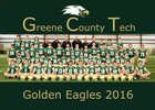 Greene County Tech Golden Eagles Boys Varsity Football Fall 16-17 team photo.
