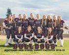 Montesano Bulldogs Girls Varsity Softball Spring 18-19 team photo.