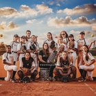 Faith Lutheran Crusaders Girls Varsity Softball Spring 18-19 team photo.