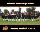 Browne Bruins Girls Varsity Softball Spring 18-19 team photo.