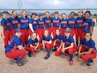 Mohave Accelerated Patriots Girls Varsity Softball Spring 18-19 team photo.
