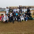 Trimble Tech Bulldogs Boys Varsity Soccer Winter 18-19 team photo.
